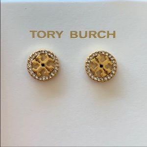Tory Burch Logo Circle Crystal Stud Earrings